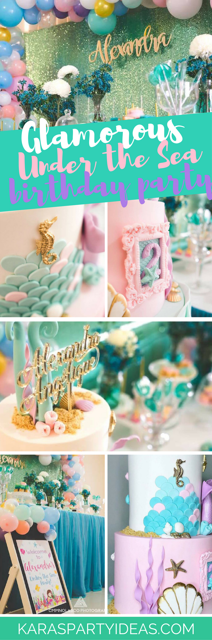 Glamorous Under the Sea Birthday Party via Kara's Party Ideas -KarasPartyIdeas.com