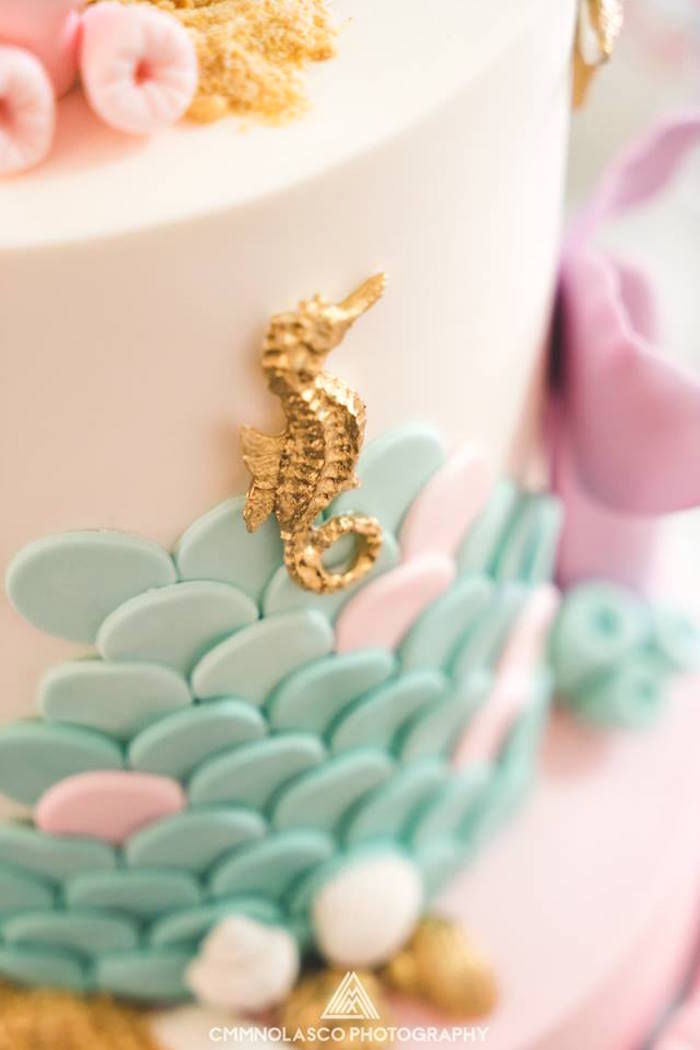 Cake detail from a Glamorous Under the Sea Birthday Party on Kara's Party Ideas   KarasPartyIdeas.com (13)