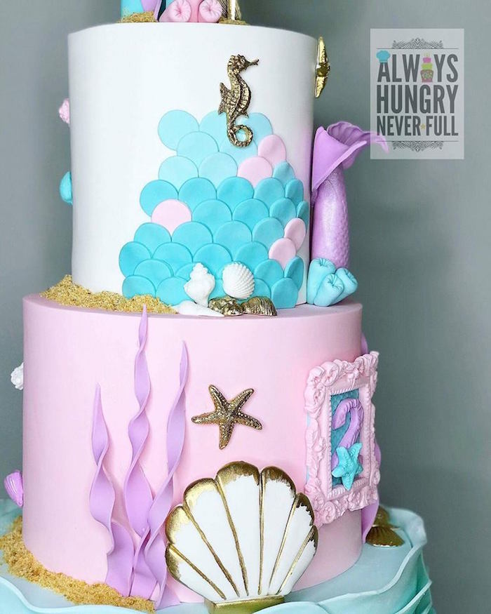 Cake from a Glamorous Under the Sea Birthday Party on Kara's Party Ideas | KarasPartyIdeas.com (9)