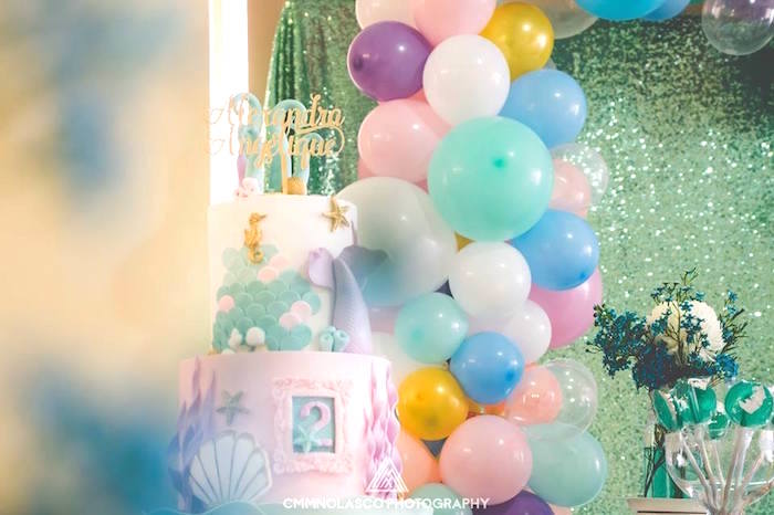 Cakescape from a Glamorous Under the Sea Birthday Party on Kara's Party Ideas | KarasPartyIdeas.com (22)