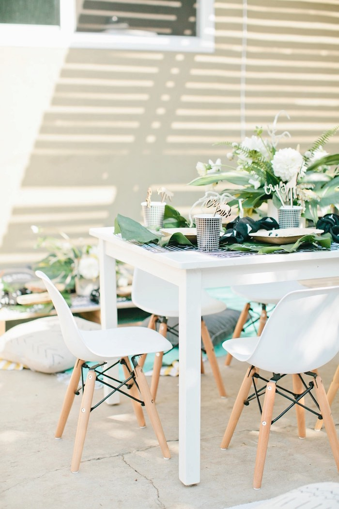 Guest table from a Jungle 1st Birthday Party on Kara's Party Ideas | KarasPartyIdeas.com (43)