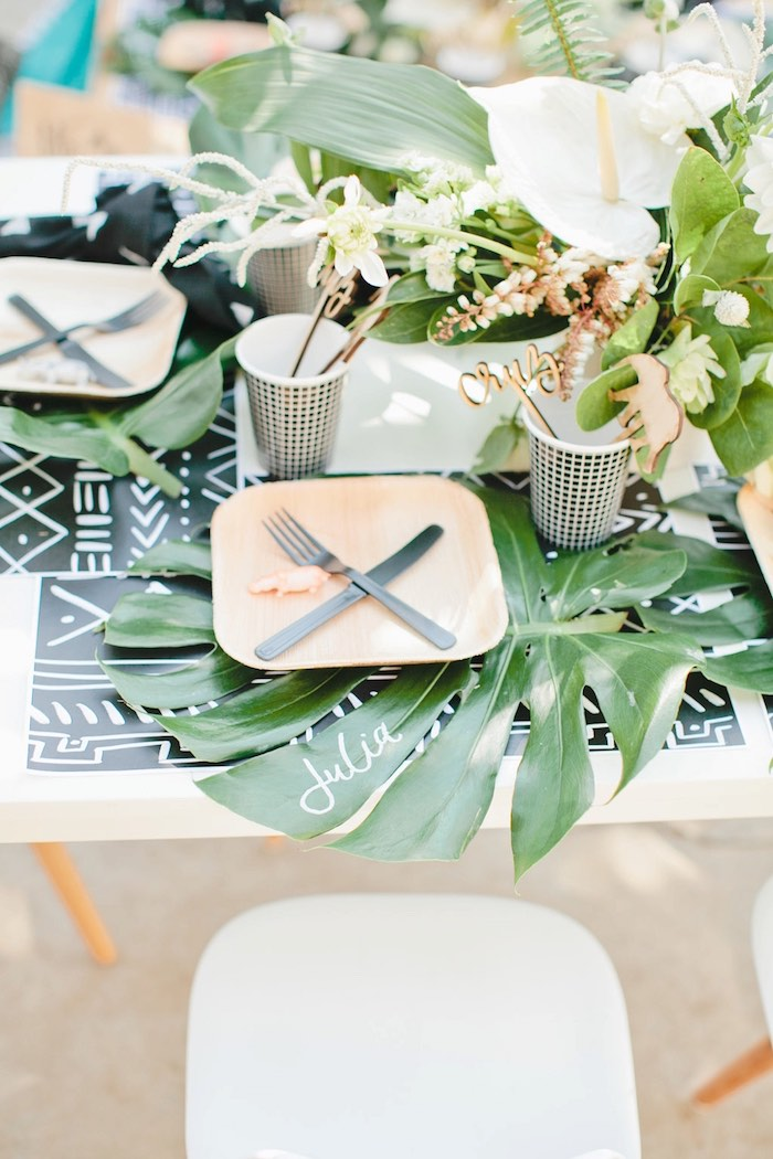 Place setting from a Jungle 1st Birthday Party on Kara's Party Ideas | KarasPartyIdeas.com (42)