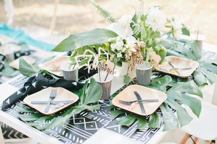 Guest tablescape from a Jungle 1st Birthday Party on Kara's Party Ideas | KarasPartyIdeas.com (41)