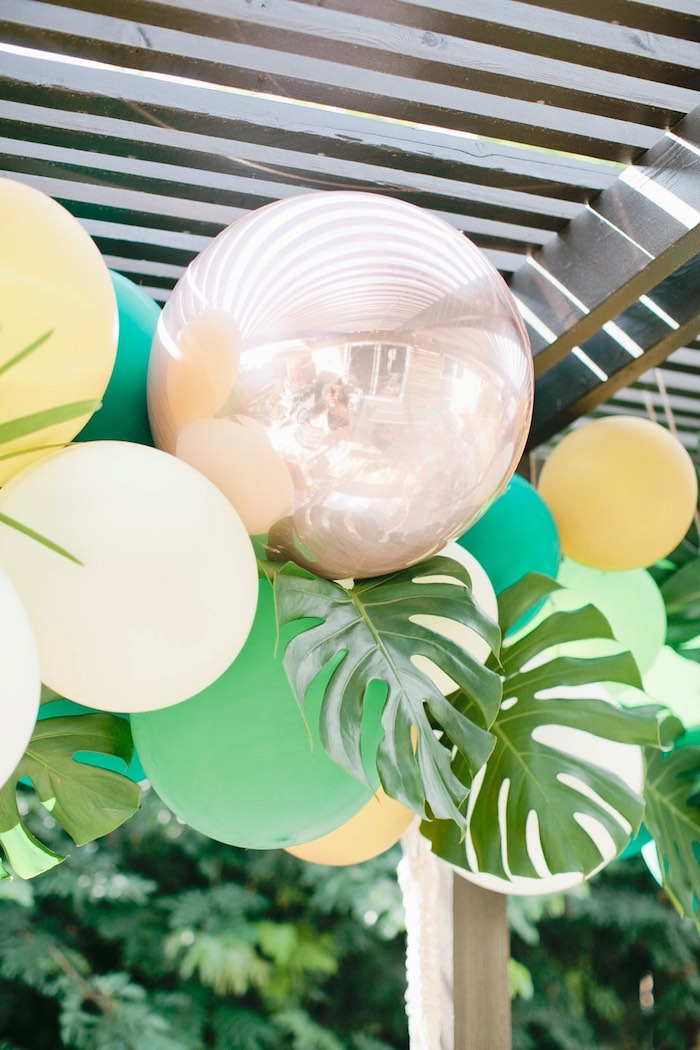 Balloon garland from a Jungle 1st Birthday Party on Kara's Party Ideas | KarasPartyIdeas.com (38)