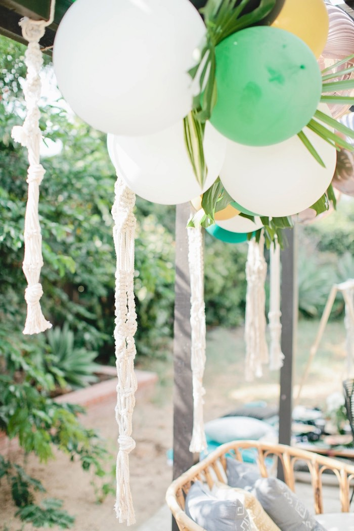 Macrame tassels from a Jungle 1st Birthday Party on Kara's Party Ideas | KarasPartyIdeas.com (37)