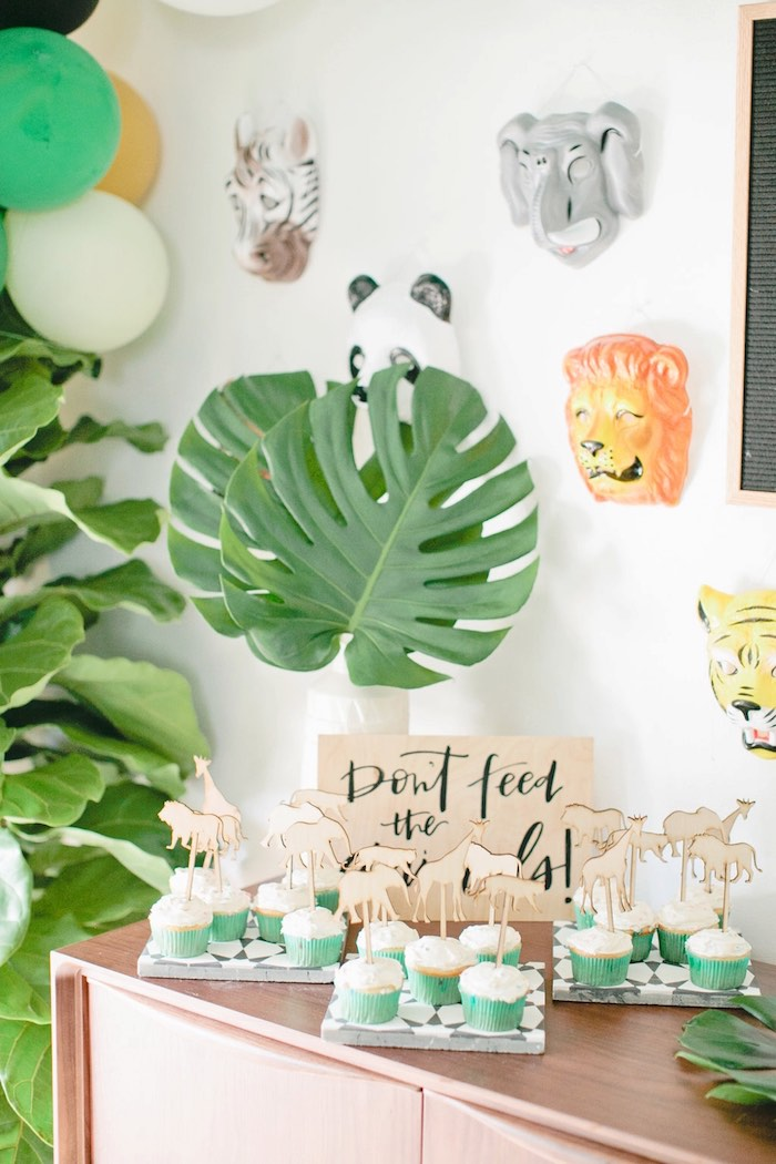 Cupcake spread from a Jungle 1st Birthday Party on Kara's Party Ideas | KarasPartyIdeas.com (33)