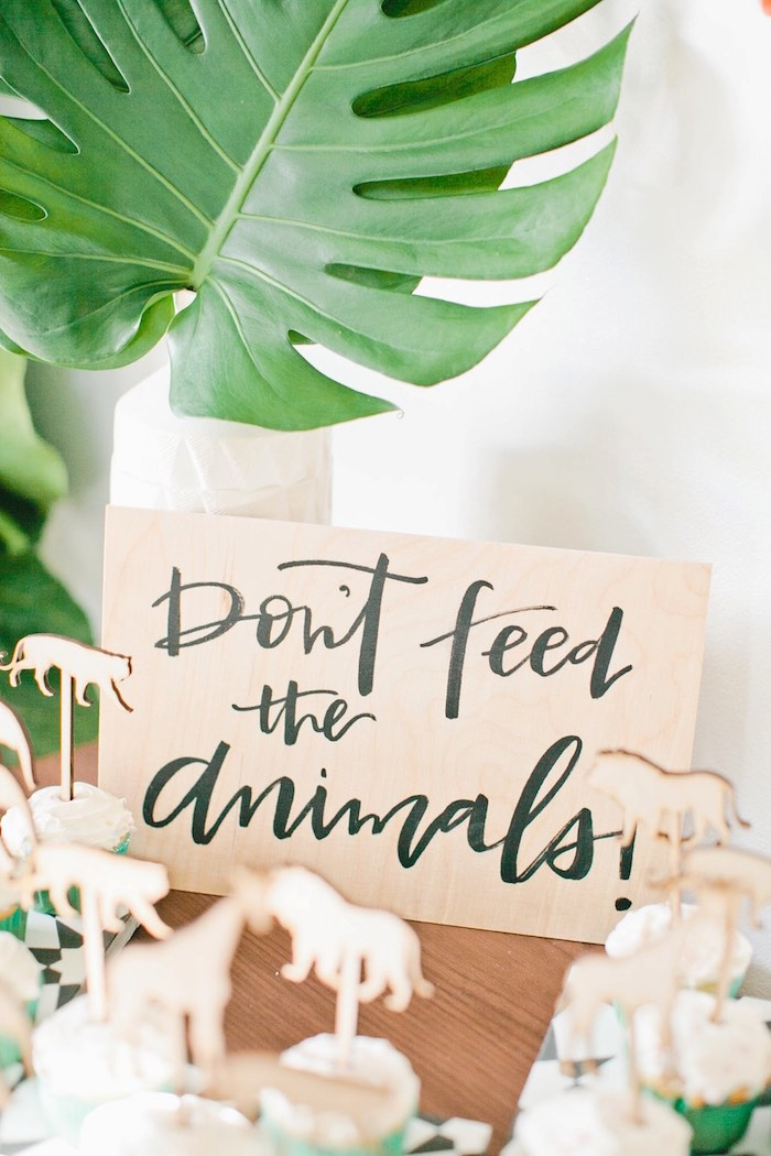 Wooden Don't Feed the Animals Sign from a Jungle 1st Birthday Party on Kara's Party Ideas | KarasPartyIdeas.com (32)