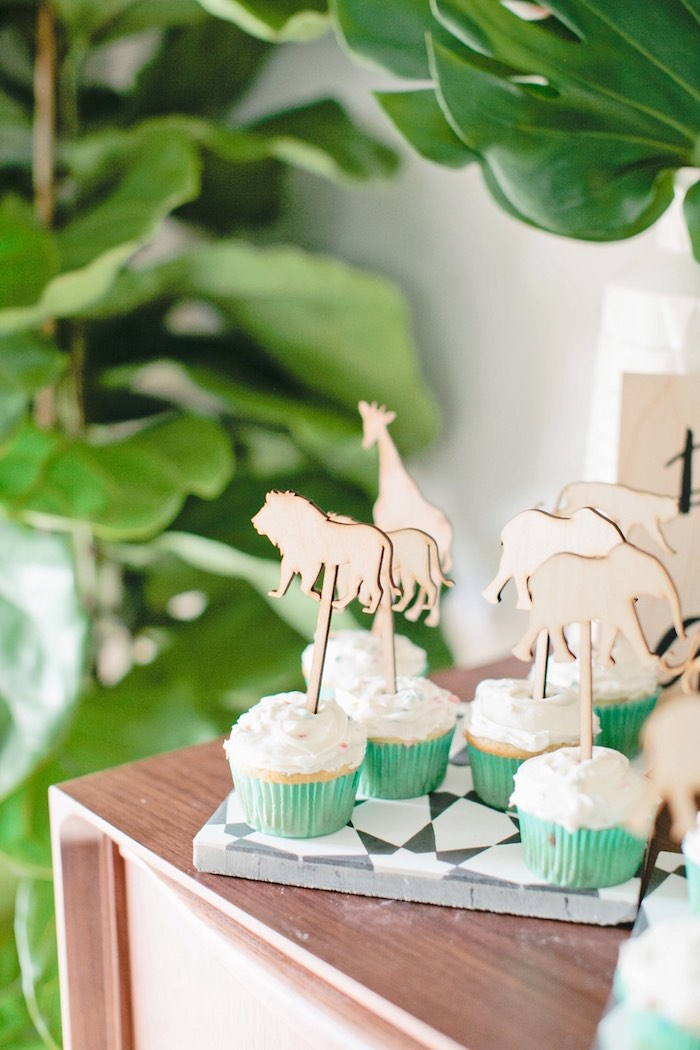 Safari animal cupcakes from a Jungle 1st Birthday Party on Kara's Party Ideas | KarasPartyIdeas.com (31)
