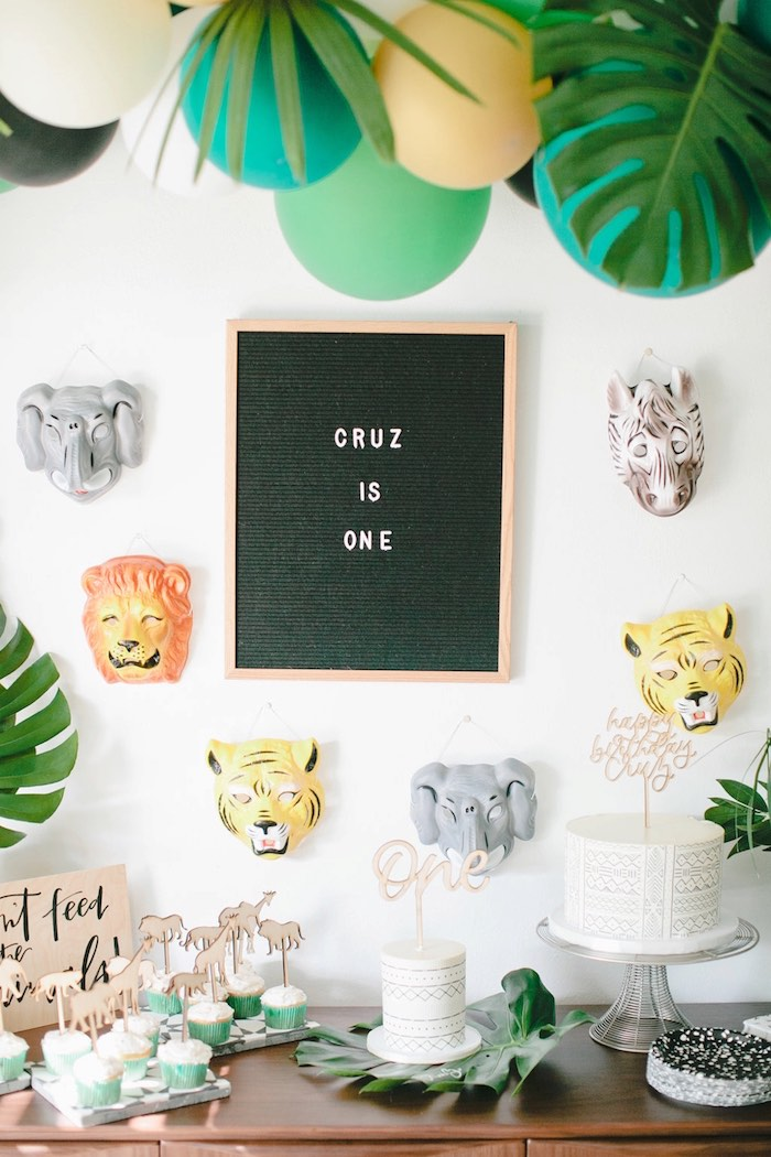 Letter board animal backdrop from a Jungle 1st Birthday Party on Kara's Party Ideas | KarasPartyIdeas.com (29)