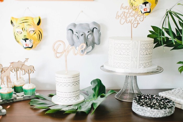 Cakescape from a Jungle 1st Birthday Party on Kara's Party Ideas | KarasPartyIdeas.com (28)