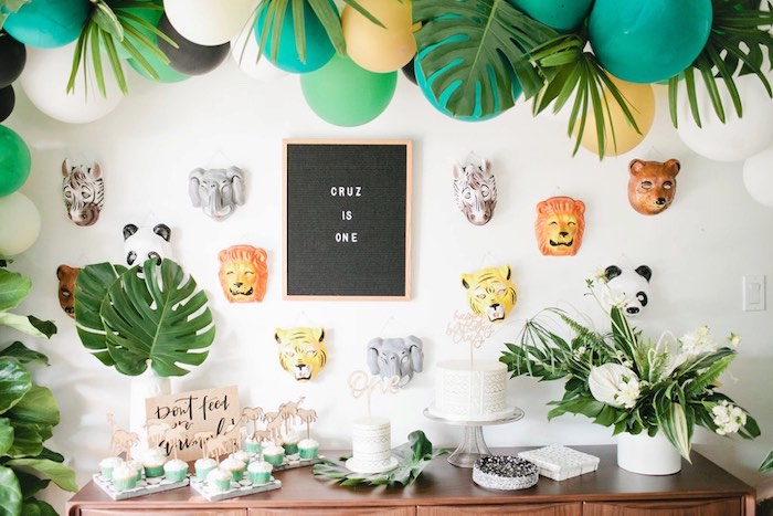 Sweet table from a Jungle 1st Birthday Party on Kara's Party Ideas | KarasPartyIdeas.com (27)