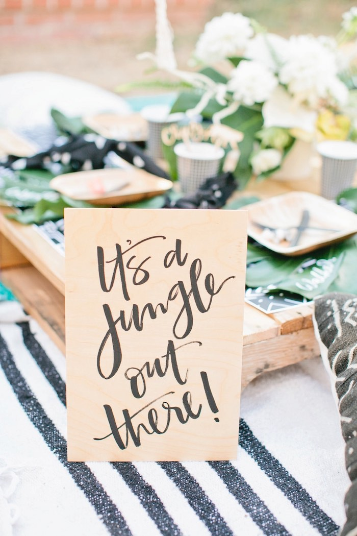 Jungle party signage from a Jungle 1st Birthday Party on Kara's Party Ideas | KarasPartyIdeas.com (51)