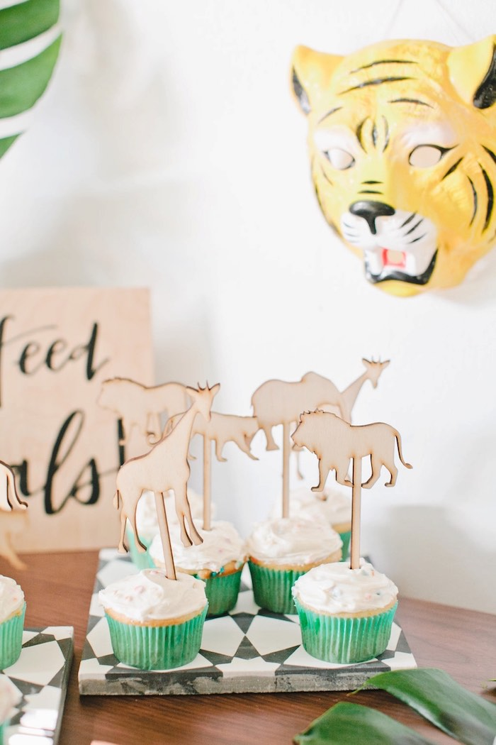 Cupcakes with wood animal toppers from a Jungle 1st Birthday Party on Kara's Party Ideas | KarasPartyIdeas.com (22)