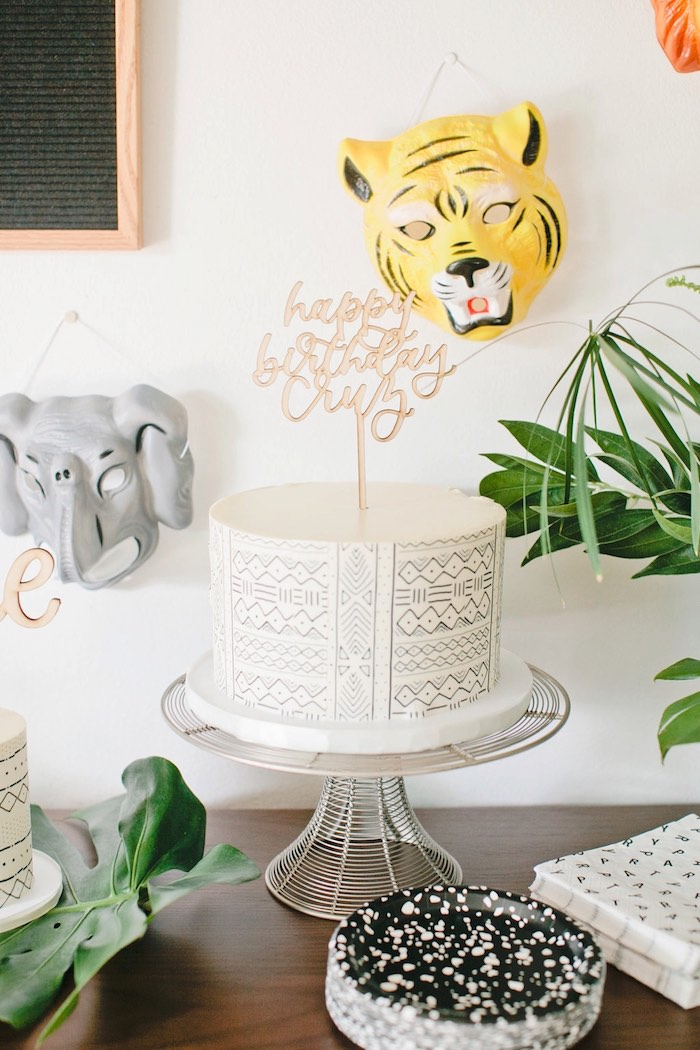 Modern jungle cake from a Jungle 1st Birthday Party on Kara's Party Ideas | KarasPartyIdeas.com (21)