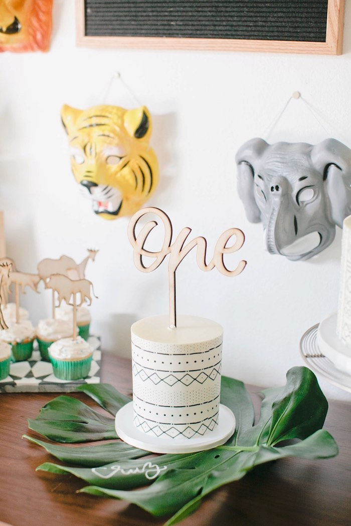Smash cake from a Jungle 1st Birthday Party on Kara's Party Ideas | KarasPartyIdeas.com (19)