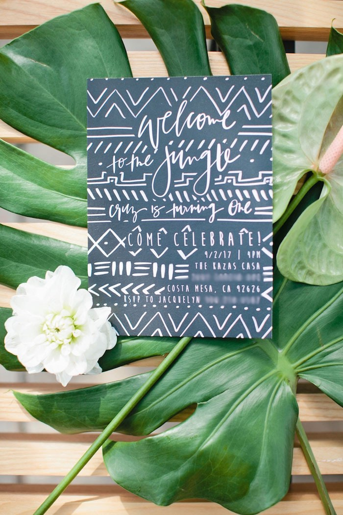 Jungle Party Invite from a Jungle 1st Birthday Party on Kara's Party Ideas | KarasPartyIdeas.com (10)