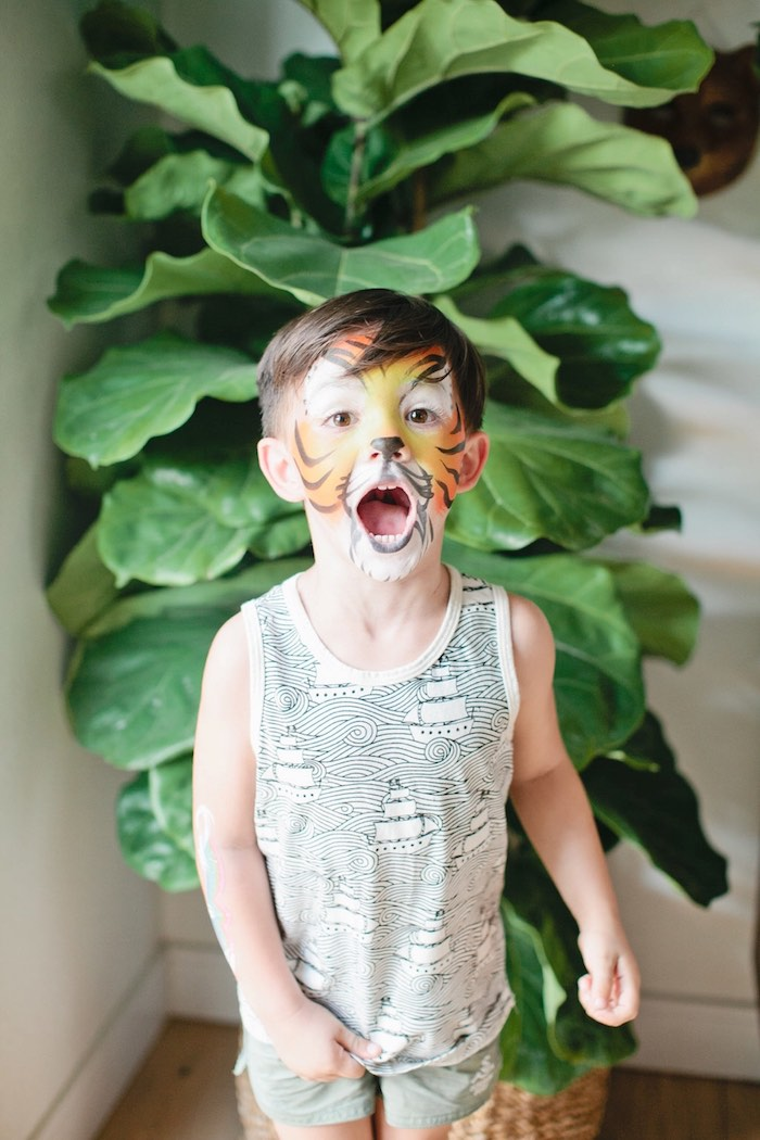 Painted tiger face from a Jungle 1st Birthday Party on Kara's Party Ideas | KarasPartyIdeas.com (8)