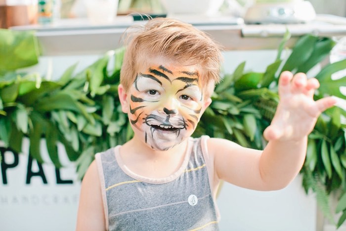Painted tiger face from a Jungle 1st Birthday Party on Kara's Party Ideas | KarasPartyIdeas.com (7)