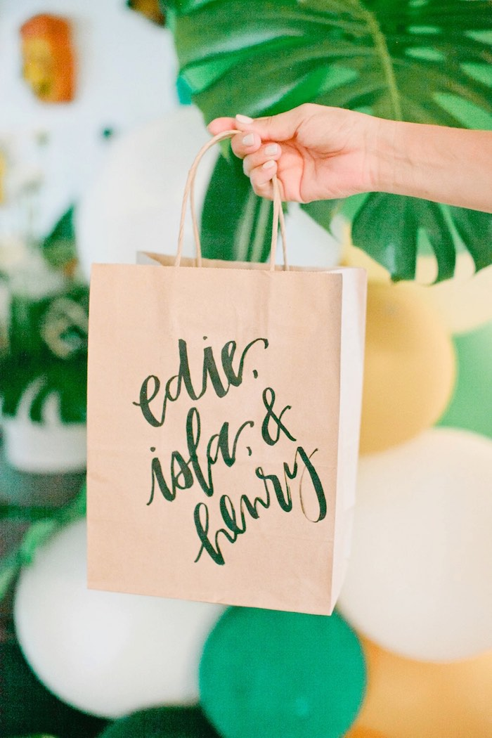 Brown paper gift bag from a Jungle 1st Birthday Party on Kara's Party Ideas | KarasPartyIdeas.com (4)