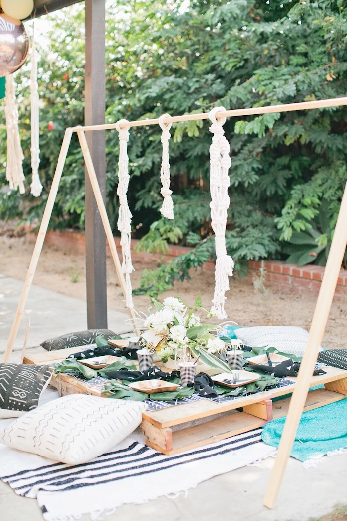 Pallet board guest table from a Jungle 1st Birthday Party on Kara's Party Ideas | KarasPartyIdeas.com (49)