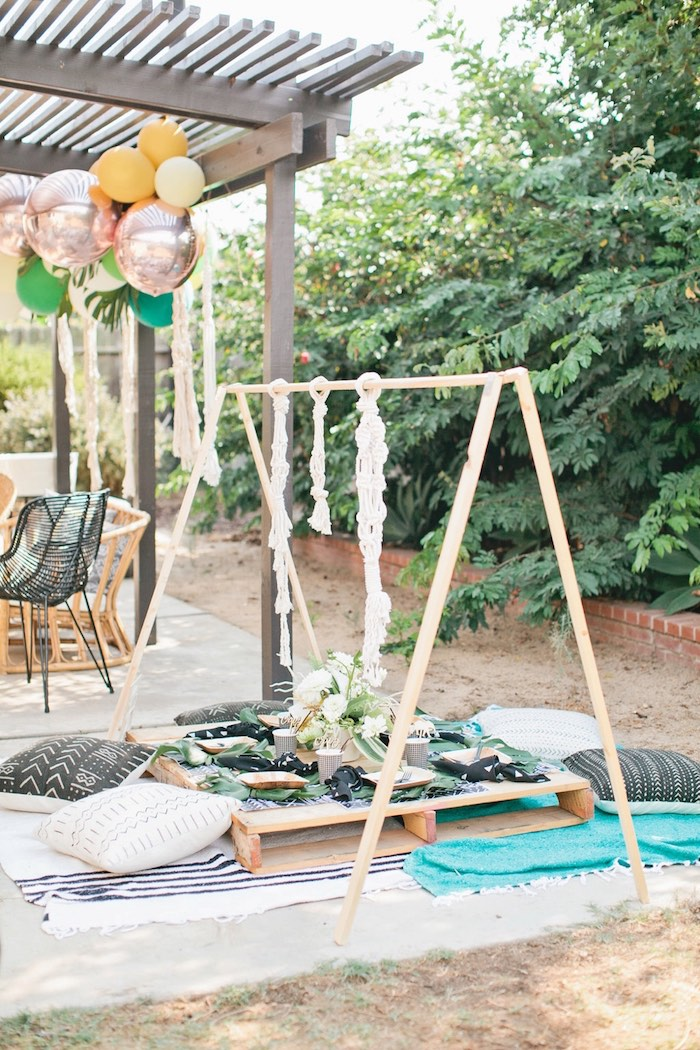 Pallet board guest table from a Jungle 1st Birthday Party on Kara's Party Ideas | KarasPartyIdeas.com (48)