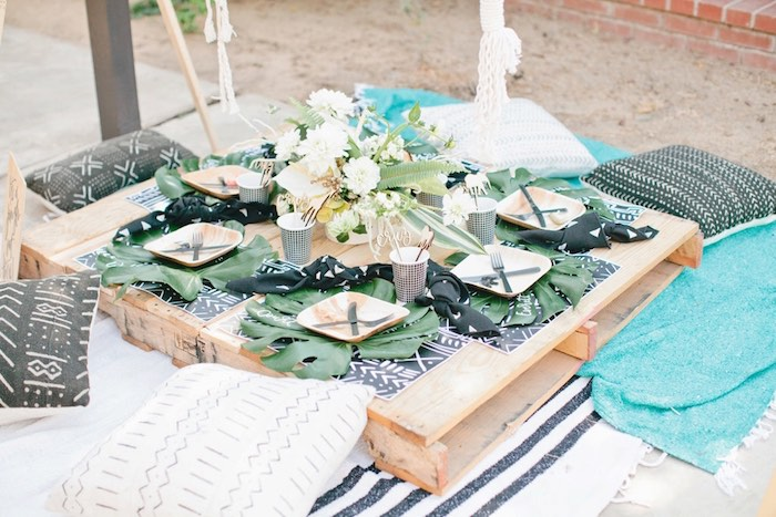 Pallet board guest table from a Jungle 1st Birthday Party on Kara's Party Ideas | KarasPartyIdeas.com (47)