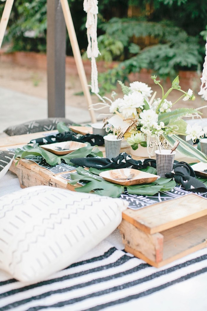 Pallet board guest table from a Jungle 1st Birthday Party on Kara's Party Ideas | KarasPartyIdeas.com (46)