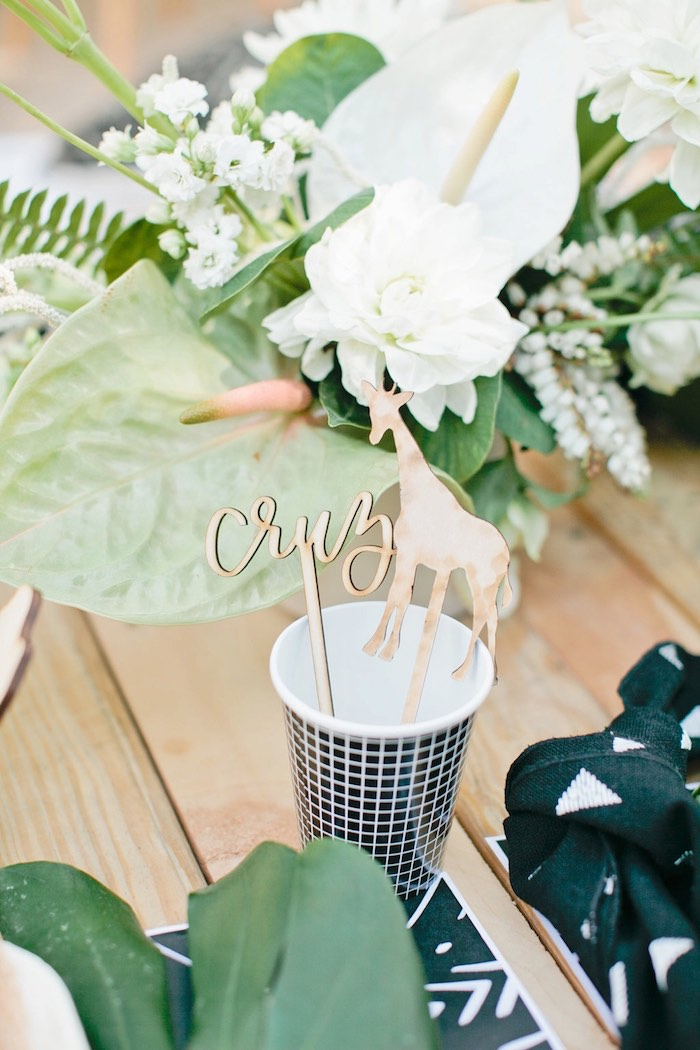 Personalized animal drink stirrer from a Jungle 1st Birthday Party on Kara's Party Ideas | KarasPartyIdeas.com (44)