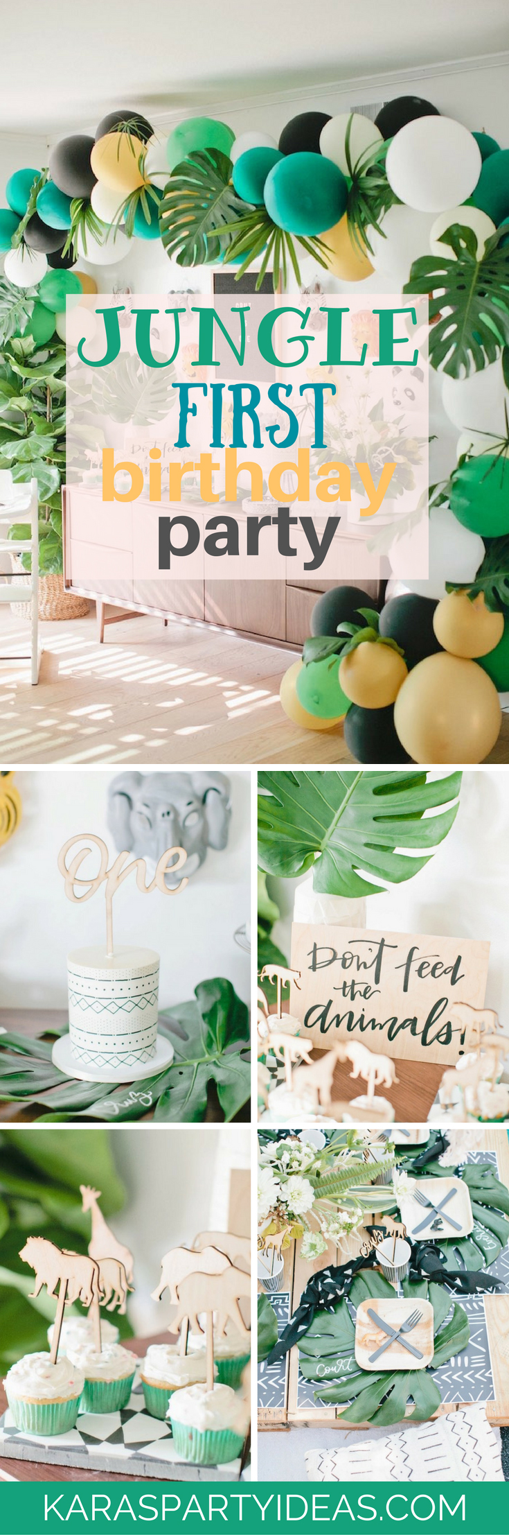 Jungle First Birthday Party via Kara's Party Ideas - KarasPartyIdeas.com