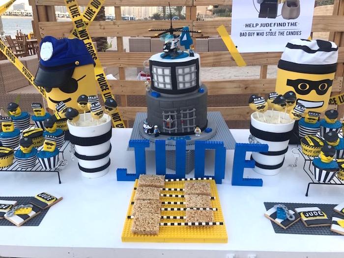 Cake table from a Lego Police Birthday Party on Kara's Party Ideas | KarasPartyIdeas.com (11)