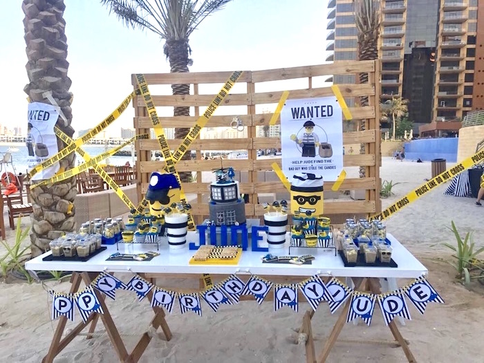 Saw horse dessert table with pallet board backdrop from a Lego Police Birthday Party on Kara's Party Ideas | KarasPartyIdeas.com (10)