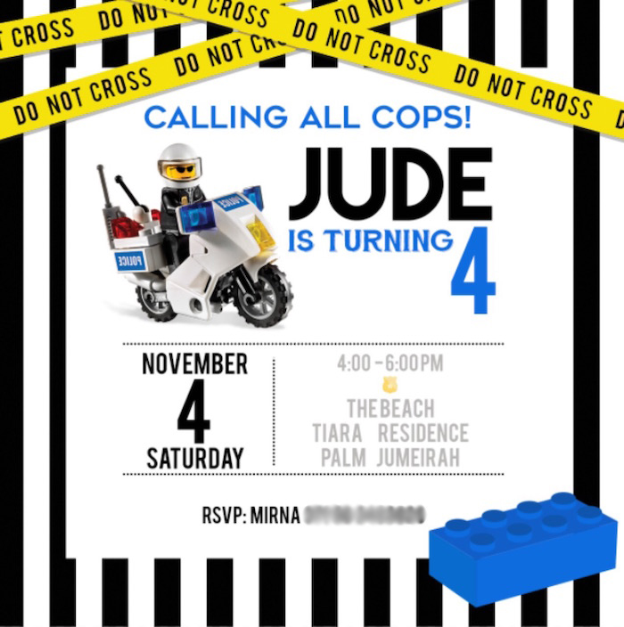 Police Lego Party Invitation from a Lego Police Birthday Party on Kara's Party Ideas | KarasPartyIdeas.com (7)