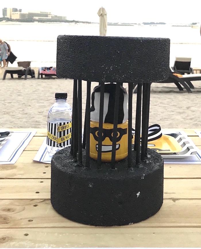 Jailed lego bandit table centerpiece from a Lego Police Birthday Party on Kara's Party Ideas | KarasPartyIdeas.com (20)