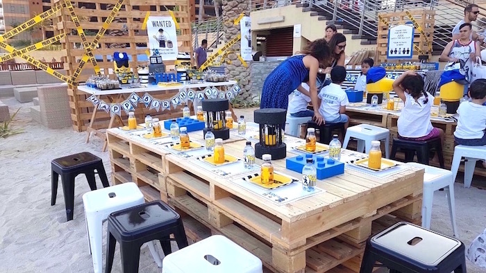 Pallet board guest table from a Lego Police Birthday Party on Kara's Party Ideas | KarasPartyIdeas.com (19)