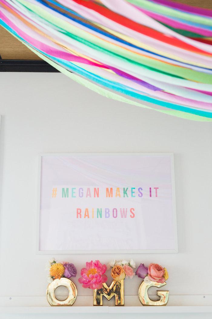 Modern rainbow signage from a Lisa Frank Inspired Rainbow Party on Kara's Party Ideas   KarasPartyIdeas.com (37)