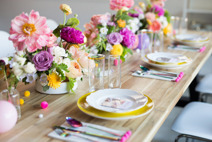 Modern glam floral tablescape from a Lisa Frank Inspired Rainbow Party on Kara's Party Ideas | KarasPartyIdeas.com (34)