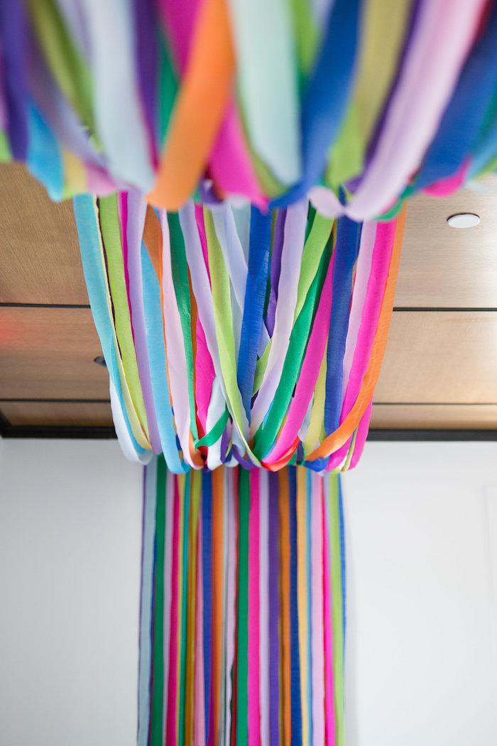Rainbow ribbon canopy from a Lisa Frank Inspired Rainbow Party on Kara's Party Ideas   KarasPartyIdeas.com (32)