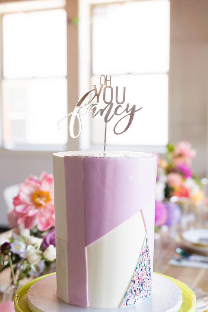 """Fancy"" cake from a Lisa Frank Inspired Rainbow Party on Kara's Party Ideas   KarasPartyIdeas.com (29)"