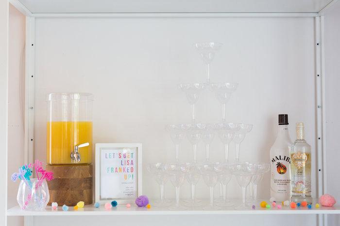 Drink bar from a Lisa Frank Inspired Rainbow Party on Kara's Party Ideas   KarasPartyIdeas.com (28)