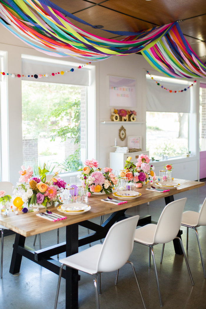 Guest table from a Lisa Frank Inspired Rainbow Party on Kara's Party Ideas | KarasPartyIdeas.com (23)