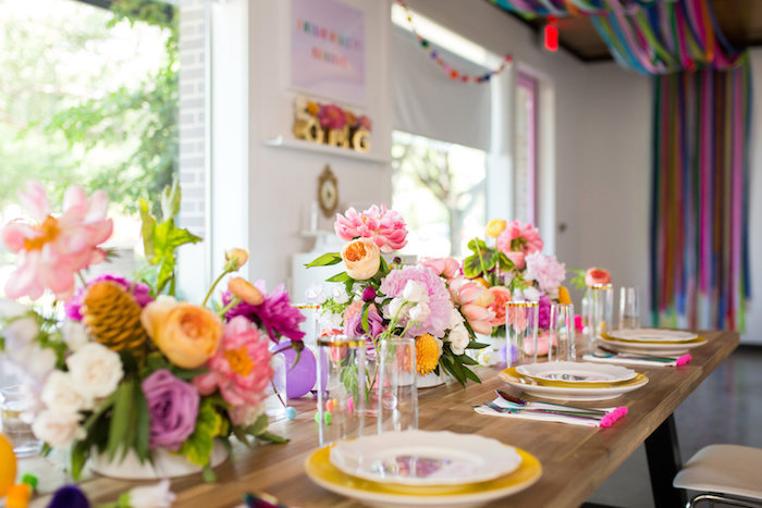 Guest table from a Lisa Frank Inspired Rainbow Party on Kara's Party Ideas | KarasPartyIdeas.com (21)