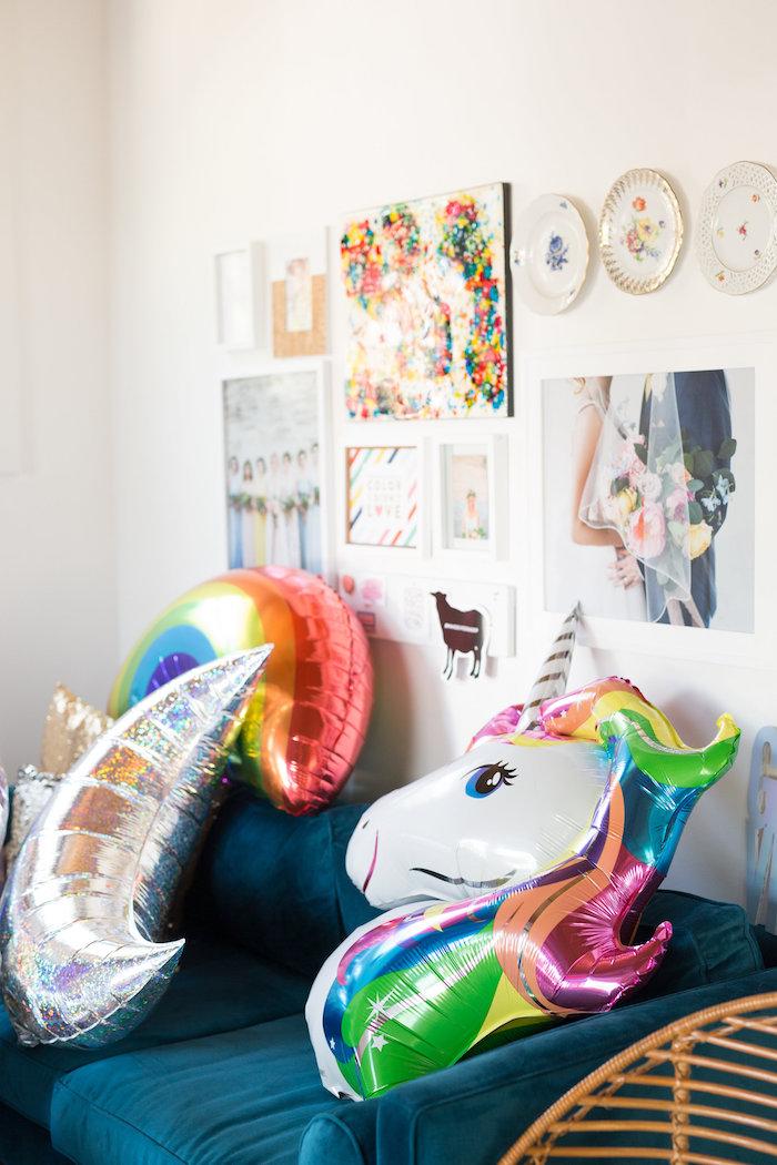 Mylar balloons + Lisa Frank Wall from a Lisa Frank Inspired Rainbow Party on Kara's Party Ideas   KarasPartyIdeas.com (20)