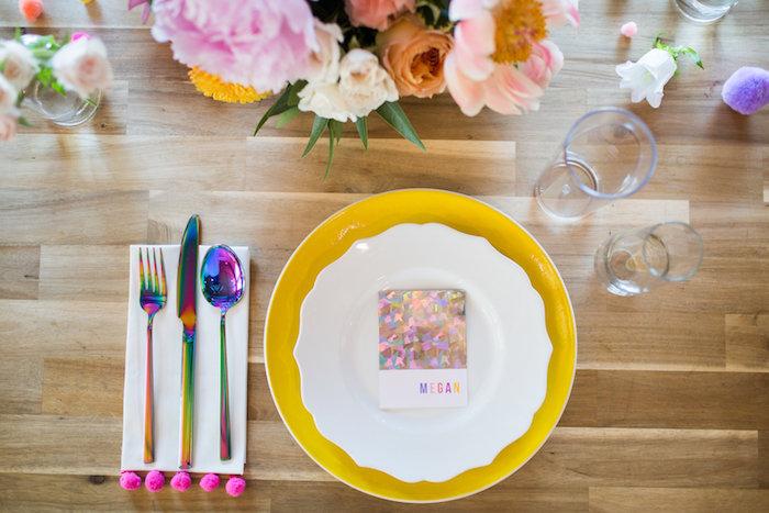 Modern glam table setting from a Lisa Frank Inspired Rainbow Party on Kara's Party Ideas   KarasPartyIdeas.com (45)