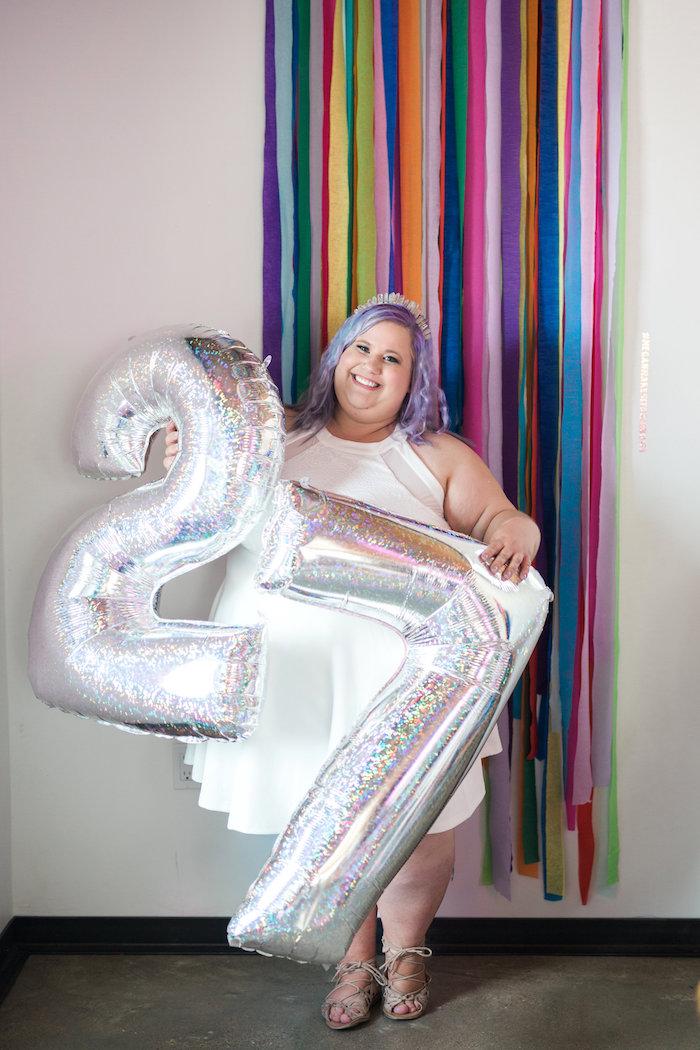 Rainbow photo booth from a Lisa Frank Inspired Rainbow Party on Kara's Party Ideas   KarasPartyIdeas.com (14)