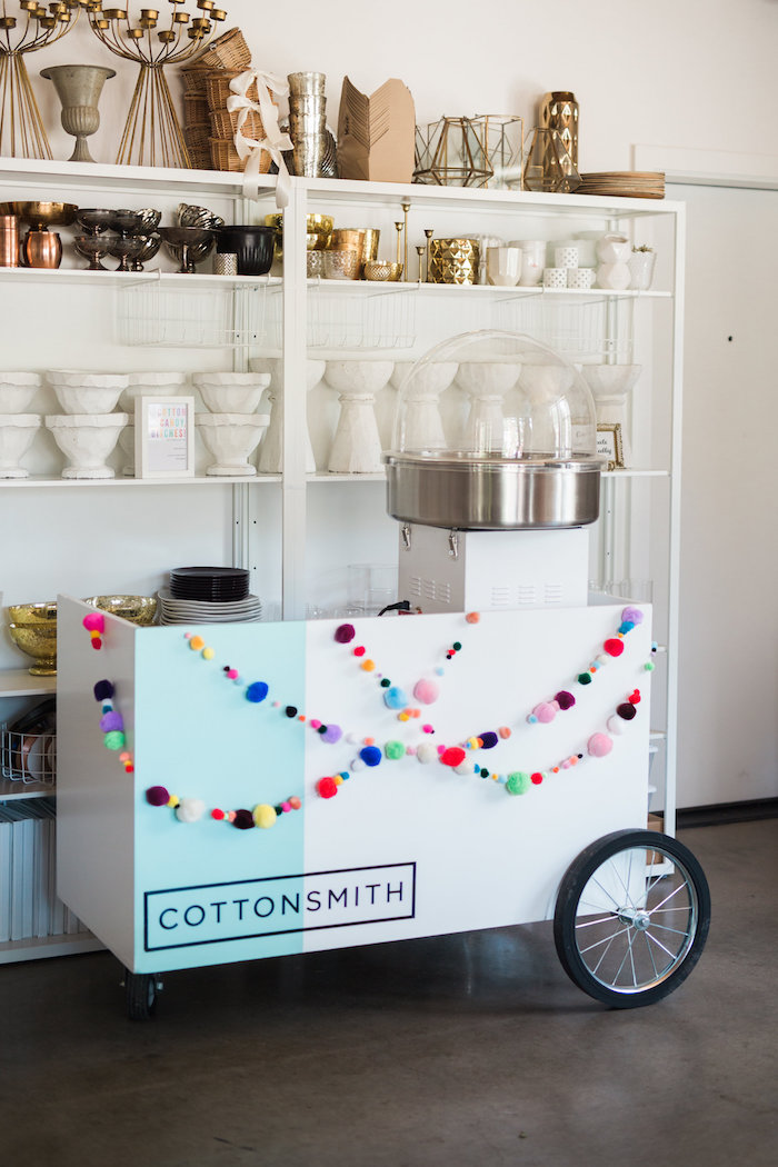 Cotton Candy Cart from a Lisa Frank Inspired Rainbow Party on Kara's Party Ideas | KarasPartyIdeas.com (13)