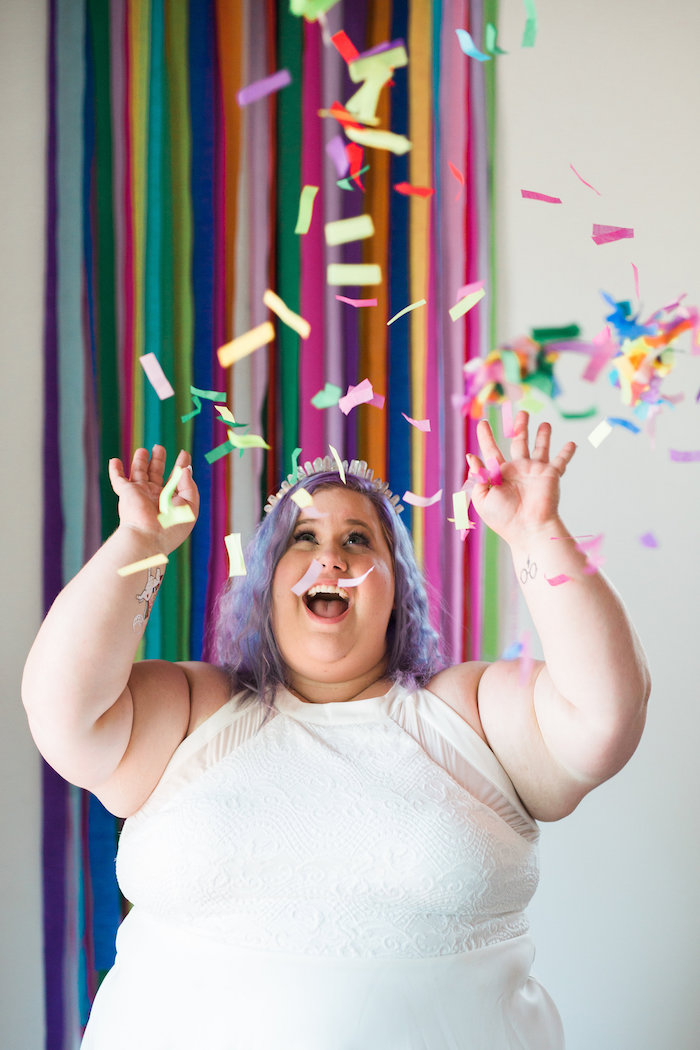 Confetti-love from a Lisa Frank Inspired Rainbow Party on Kara's Party Ideas   KarasPartyIdeas.com (10)