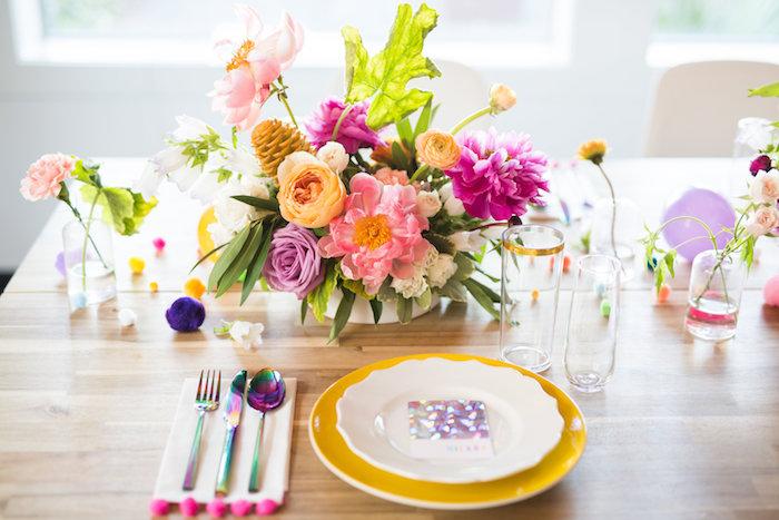 Modern glam table setting from a Lisa Frank Inspired Rainbow Party on Kara's Party Ideas   KarasPartyIdeas.com (44)
