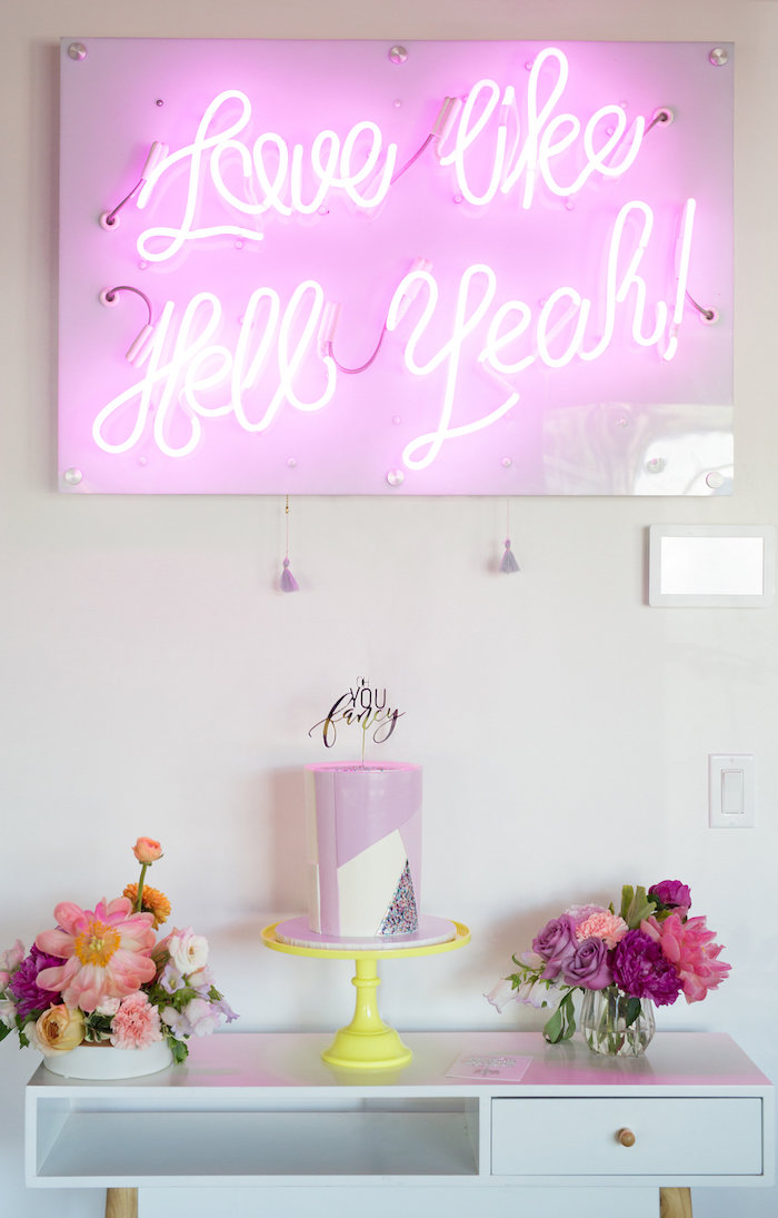 Neon Light-Lit Cake Table from a Lisa Frank Inspired Rainbow Party on Kara's Party Ideas | KarasPartyIdeas.com (42)