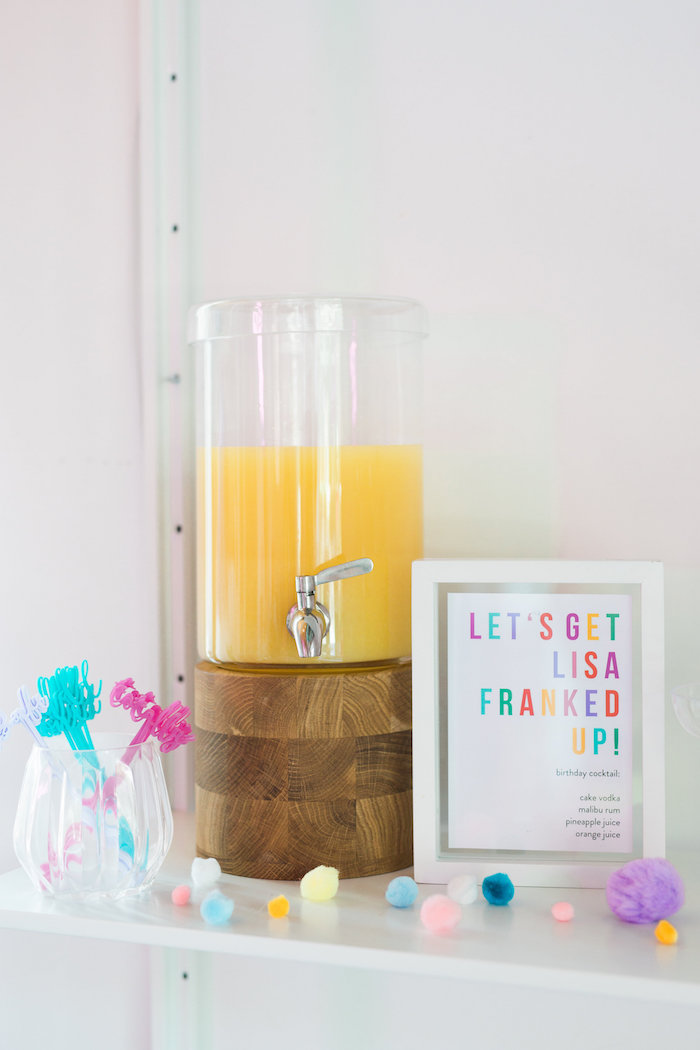 Beverage bar from a Lisa Frank Inspired Rainbow Party on Kara's Party Ideas | KarasPartyIdeas.com (41)