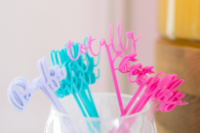 Word drink stirrers from a Lisa Frank Inspired Rainbow Party on Kara's Party Ideas | KarasPartyIdeas.com (39)